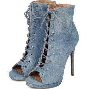 Lace Up Denim Booties